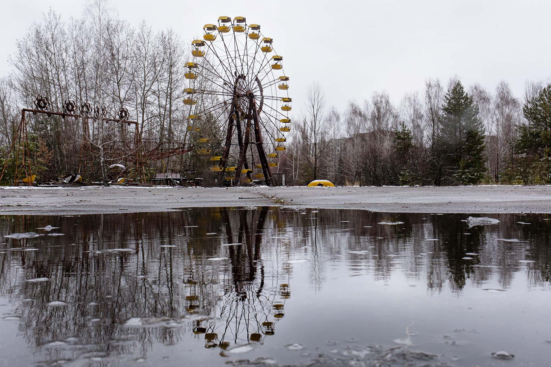 La famosa noria del parque central de Pripyat.