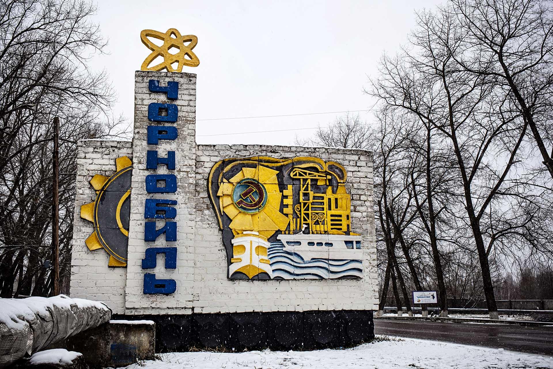 Entrada a la ciudad Chernóbil, la misma que en el momento del accidente